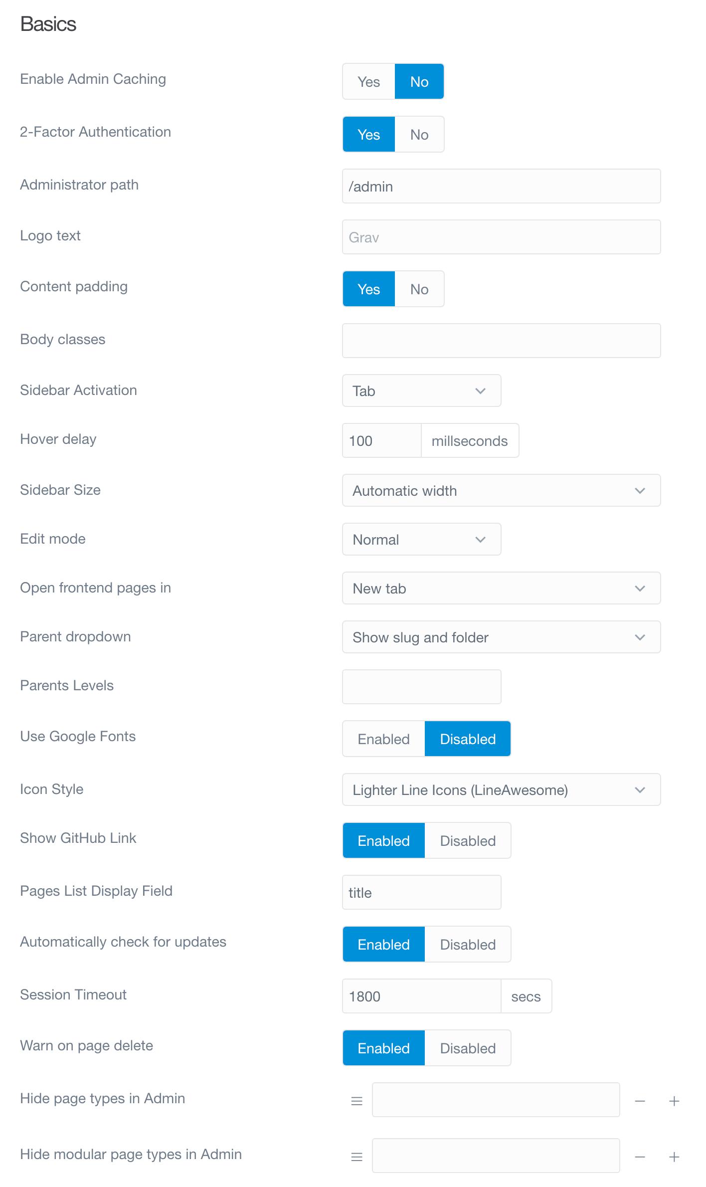 Options | Grav Documentation